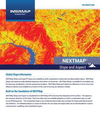 NEXTMap Slope-Aspect Data Sheet