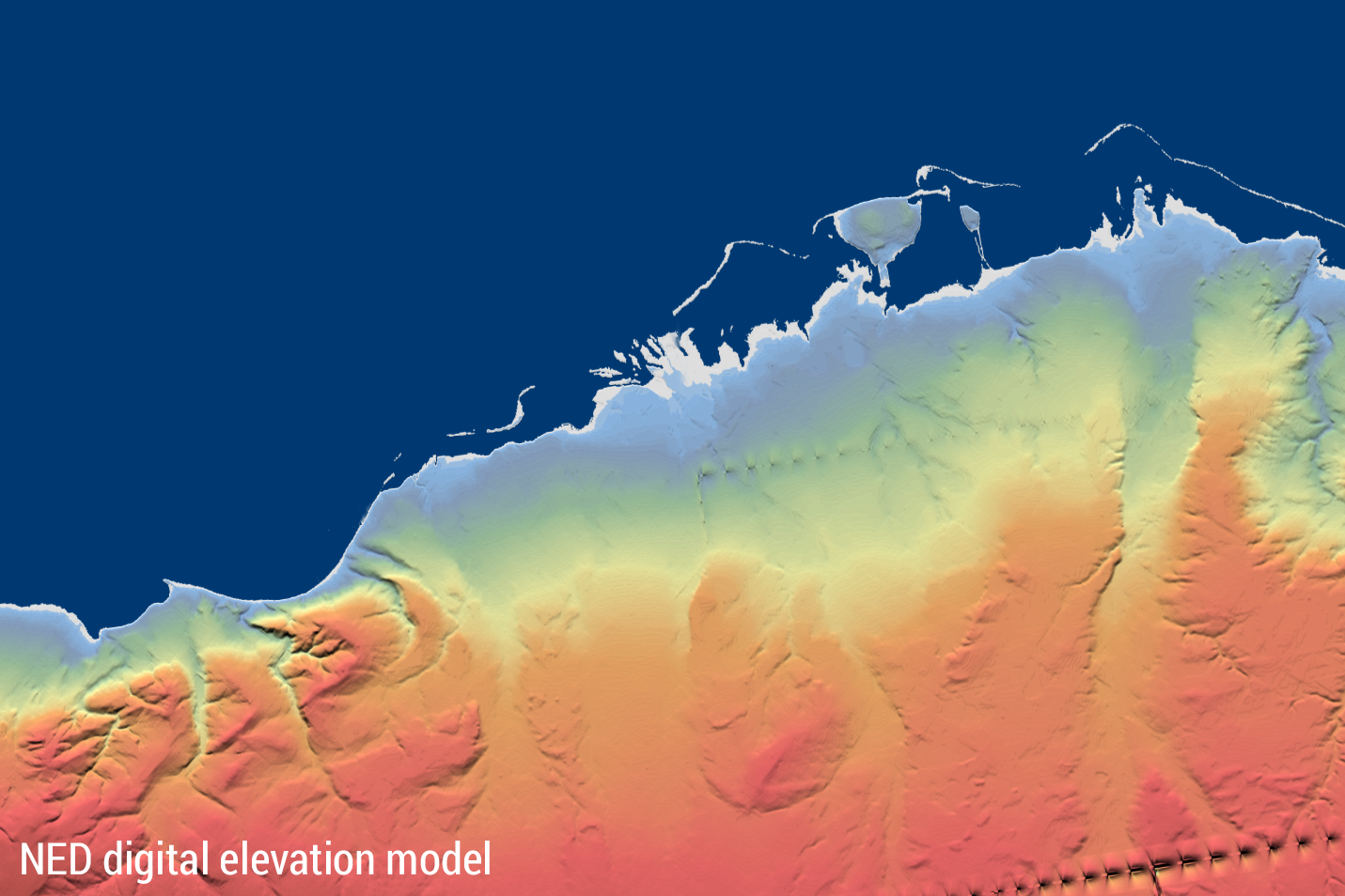 NED digital elevation model with artefacts